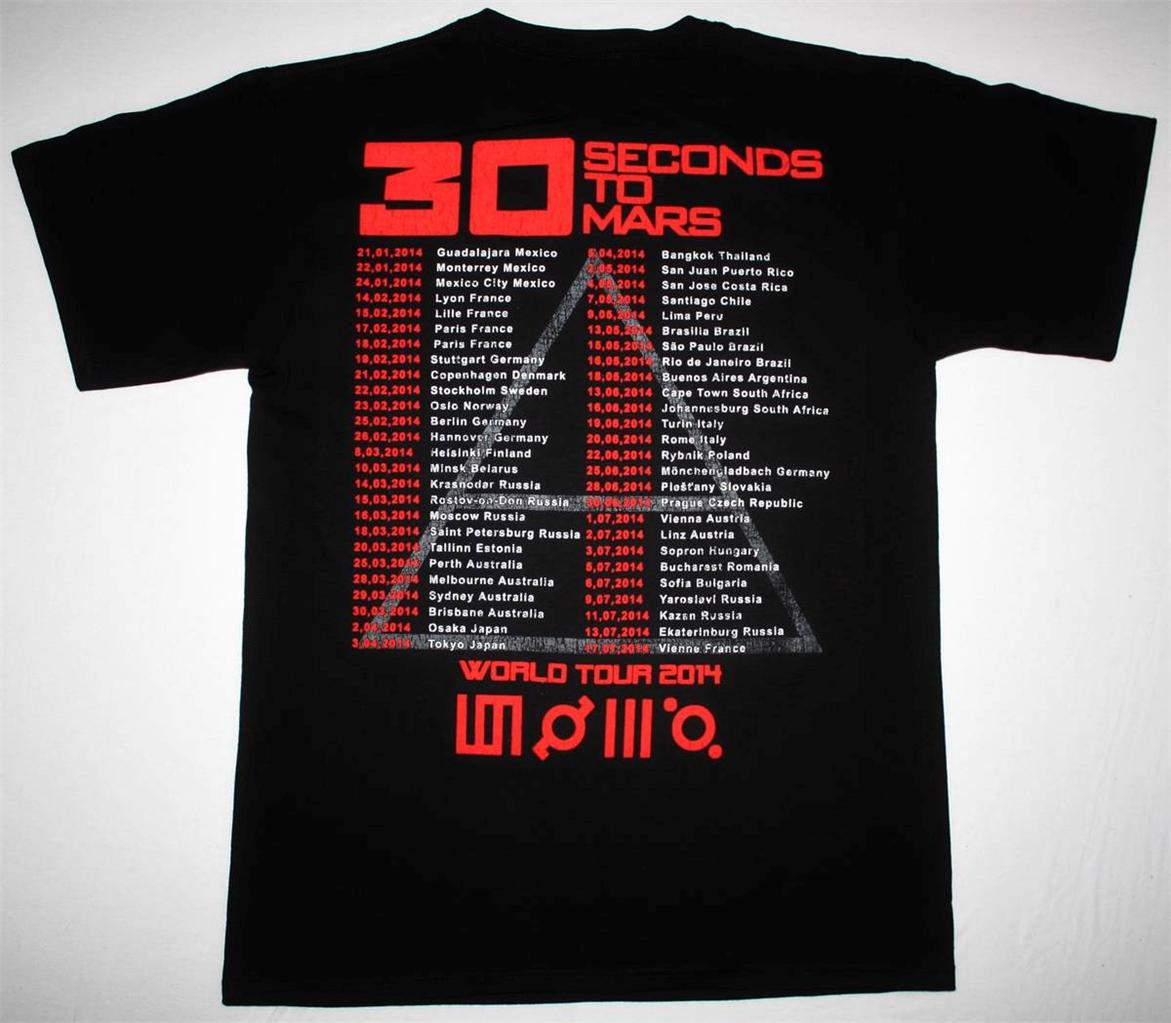 30 SECONDS TO MARS PHOTO WORLD TOUR 2014 NEW BLACK T-SHIRT