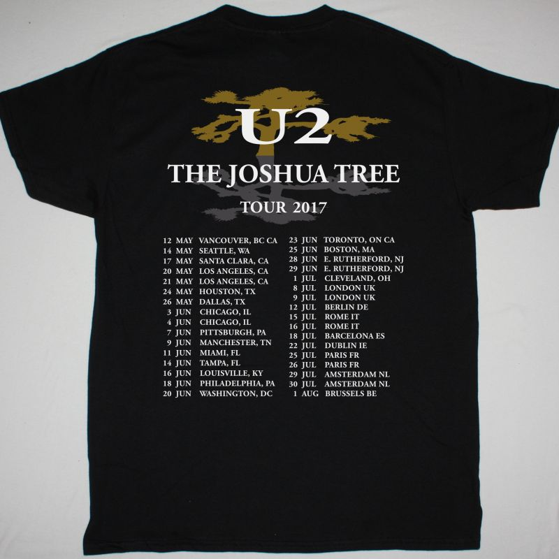U2 THE JOSHUA TREE TOUR 2017 NEW BLACK T-SHIRT