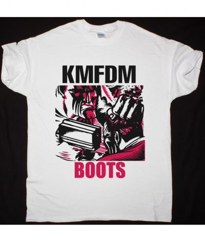 KMFDM BOOTS NEW WHITE T SHIRT
