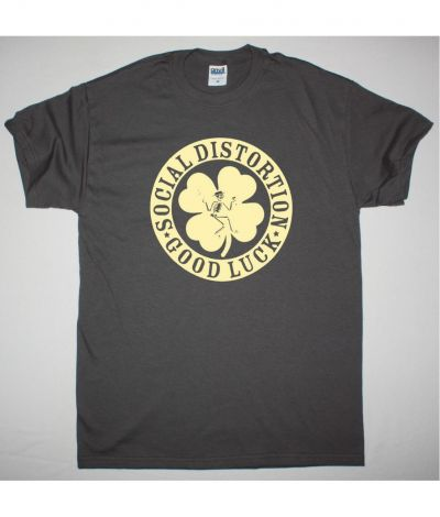 SOCIAL DISTORTION IRISH CLOVER GOOD LUCK NEW GREY T SHIRT