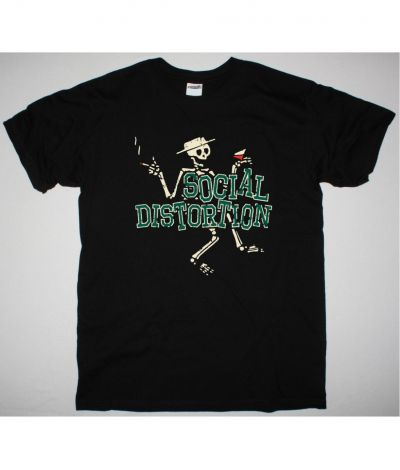 SOCIAL DISTORTION LETTERMAN SKULLY NEW BLACK T SHIRT