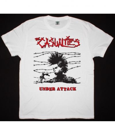 THE CASUALTIES UNDER ATTACK NEW WHITE T SHIRT