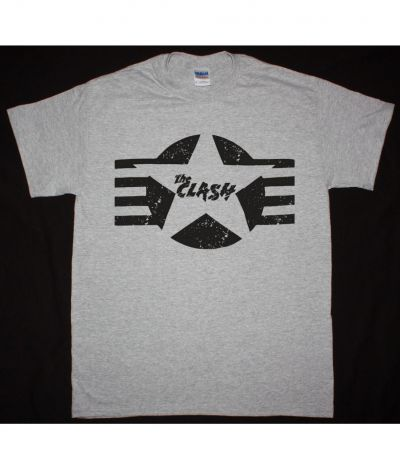 THE CLASH DISTRESSED LOGO NEW SPORTS GREY T SHIRT