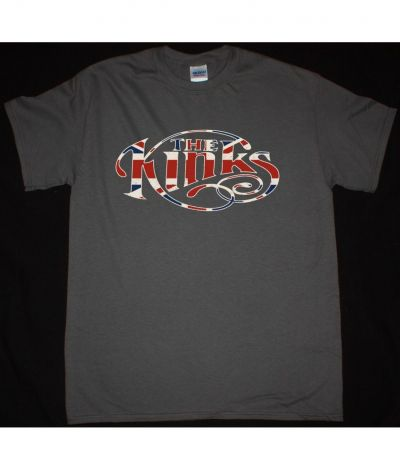 THE KINKS UNION JACK LOGO NEW GREY T SHIRT