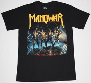 MANOWAR FIGHTING THE WORLD '87 NEW BLACK T-SHIRT
