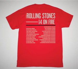 ROLLING STONES 14 ON FIRE DATEBACK NEW RED T-SHIRT