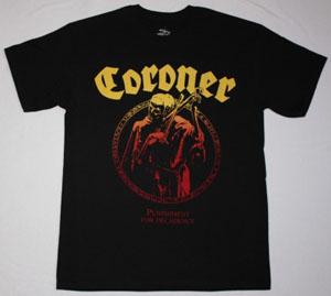 CORONER PUNISHMENT FOR DECADENCE 1988 NEW BLACK T-SHIRT