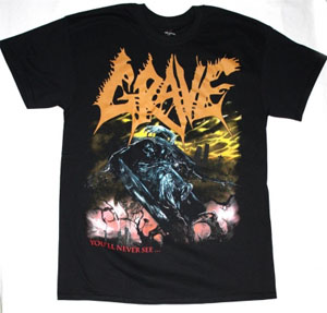 GRAVE YOU'LL NEVER SEE 2 NEW BLACK T-SHIRT