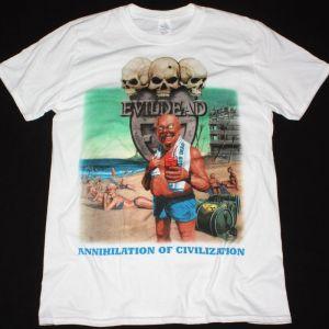 EVILDEAD ANNIHILATION OF CIVILIZATION 1989 NEW WHITE T-SHIRT