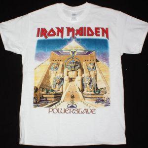 IRON MAIDEN POWERSLAVE 1984 NEW  WHITE T-SHIRT