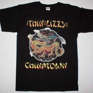 THIN LIZZY CHINATOWN '80 NEW BLACK T-SHIRT