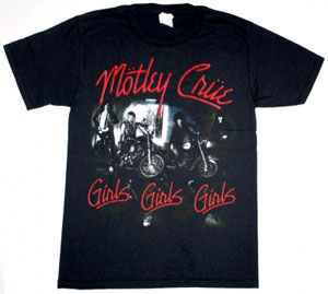 MOTLEY CRUE GIRLS GIRLS GIRLS '87  NEW BLACK T-SHIRT