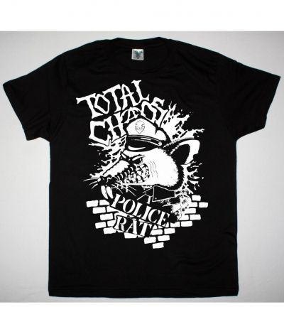 TOTAL CHAOS POLICE RAT NEW BLACK T SHIRT