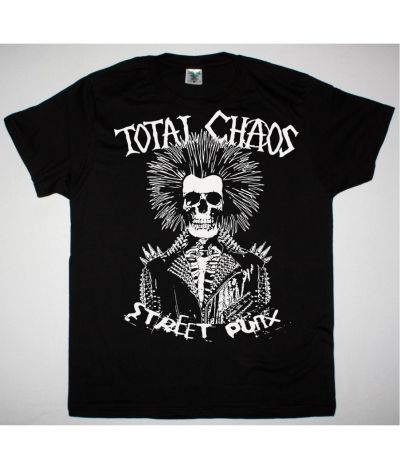 TOTAL CHAOS STREET PUNX NEW BLACK T SHIRT